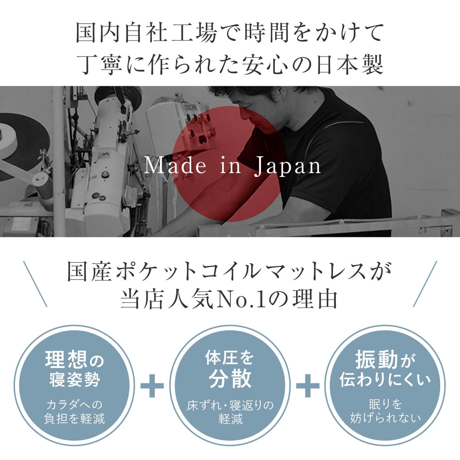 国内自社工場で時間をかけて丁寧に作られた安心の日本製