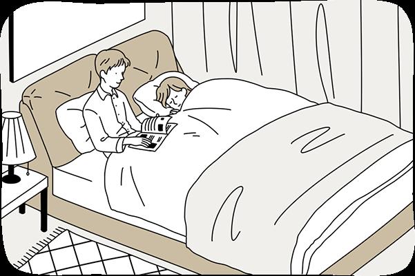 クイーンサイズのベッドは夫婦2人でゆっくりとくつろぎたい方におすすめです。