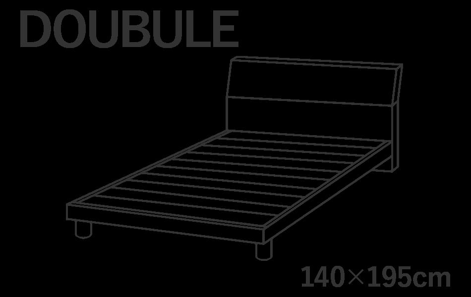 ダブルサイズのベッドには横幅140cm長さ195cmのマットレスを推奨しています。