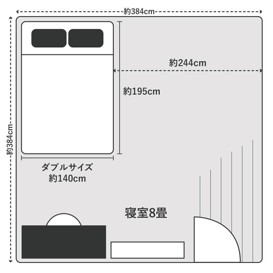 ダブルサイズのベッドは8畳の寝室に置くとベッド横に約244cmのスペースができるので、タンスなど大きめの家具を部屋に置く場合にはレイアウトに気を付けましょう。