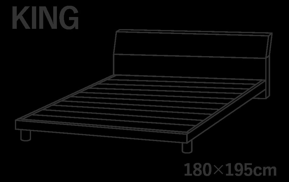 キングサイズのベッドには横幅180cm長さ195cmのマットレスを推奨しています。