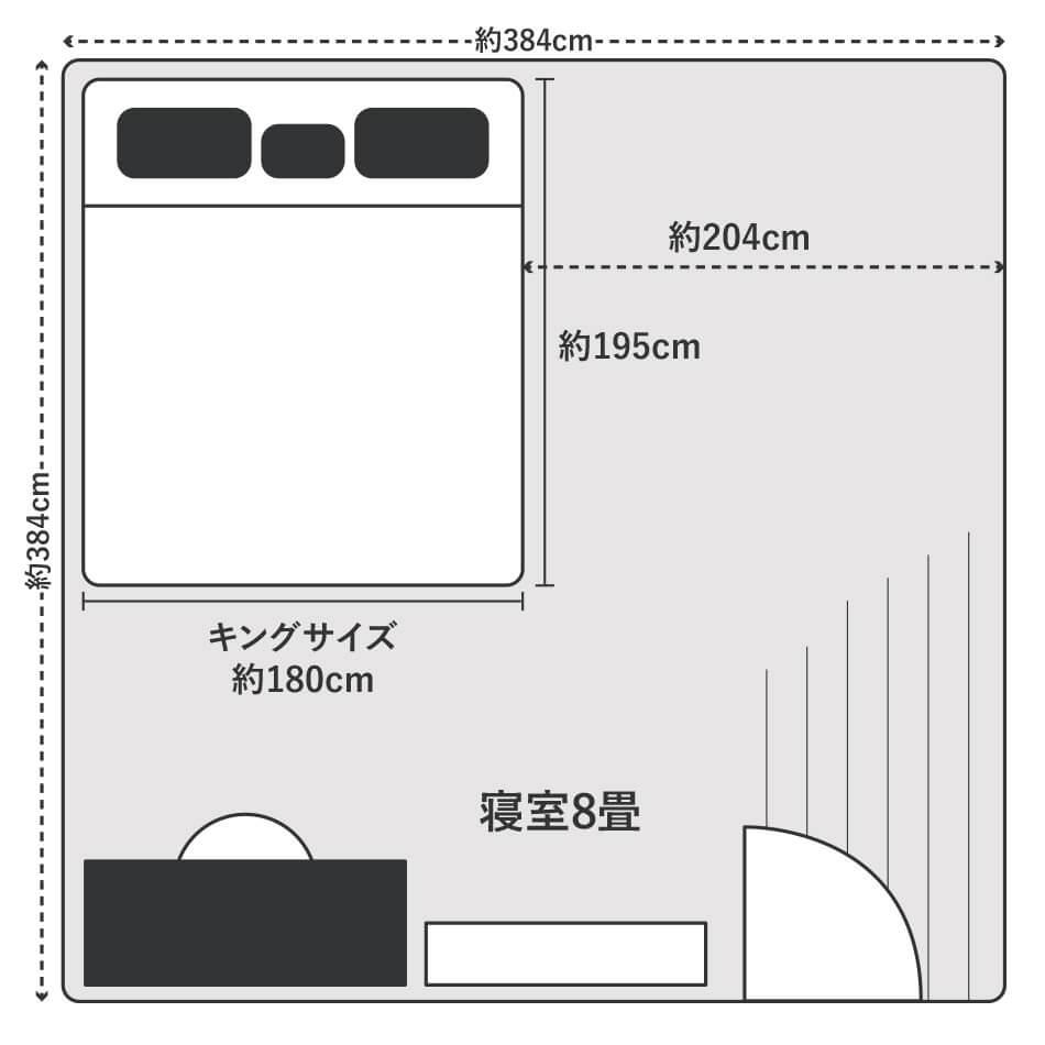 キングサイズのベッドは8畳の寝室に置くとベッド横に約204cmのスペースができるので、お部屋のサイズと必要なスペースを計算してレイアウトしましょう。