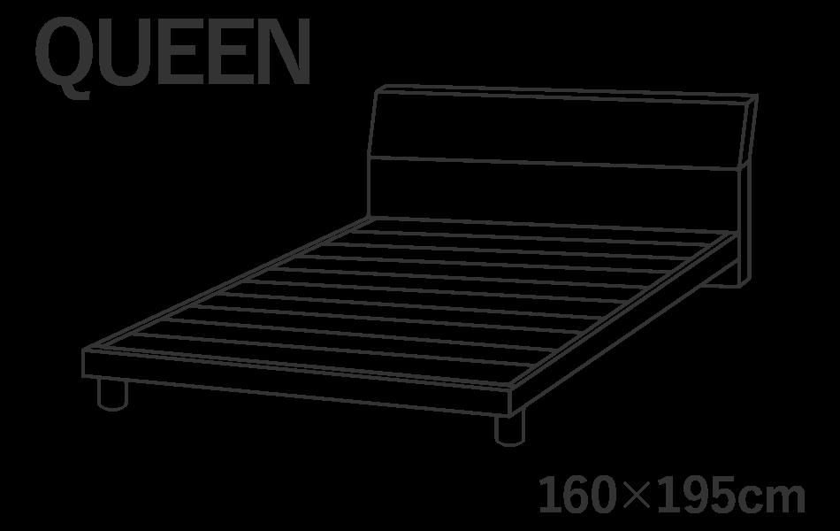 クイーンサイズのベッドには横幅160cm長さ195cmのマットレスを推奨しています。