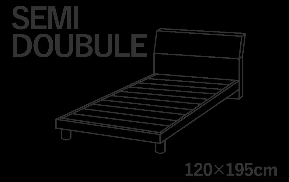 セミダブルサイズのベッドには横幅120cm長さ195cmのマットレスを推奨しています。