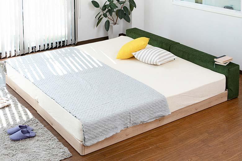 家族のための安心設計ロースタイルで幅広ヘッドの布製ファブリックベッド ワイドキングサイズ ハグミル