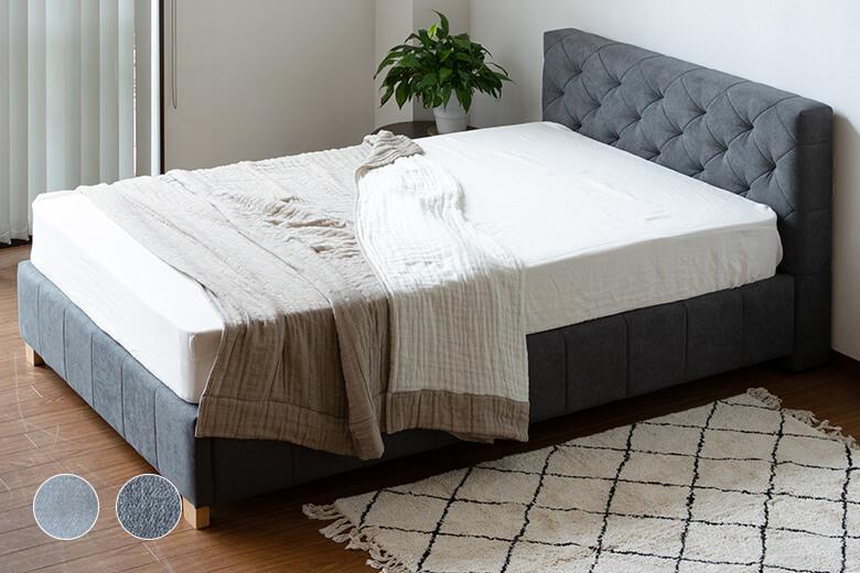 高級ホテルのようなエレガントなヘッドボードが特徴のハイセンスな布製ベッド シングルサイズ  ロイール