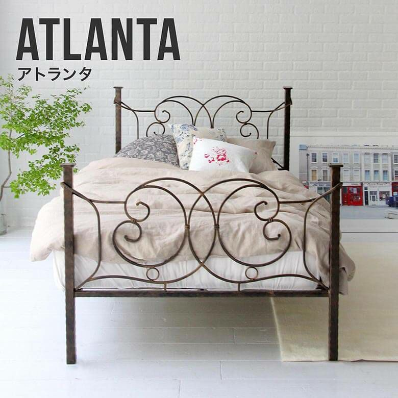 美しいアンティークデザインとブロンズ調のフレームが特長の金属製パイプベッド ダブルサイズ アトランタ